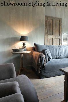Walls in Fresco Lime Paint. Muren met kalkverf van Pure & Original, voor een stoere en sobere uitstraling. Showroom Styling & Living