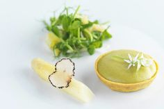 This creamy Parmesan tart by Frances Atkins is paired with wild garlic and crunchy chicory salad