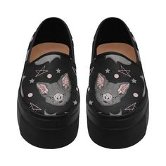 BATBAT LOVE Platform Shoes - Gothic Kawaii Sweet Bat Pink Black Dark Occultism Goth Magic Witchcraft Witch Princess stars Harajuku Pastel