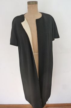 Vintage Evening Coat Reversible Black and Ivory Short Sleeve 60's Duster Jackie O Style Size M by ZoomVintage on Etsy