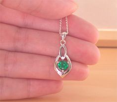 "925 Emerald (Lab Created) Pendant &18"" Silver Chain/Emerald Necklace/Emerald Jewellery/Emerald Jewelry/Emerald Jewelery/May Birthstone/Green by joannasjewellerycouk on Etsy"