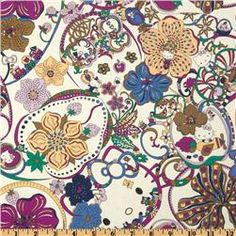 Liberty Of London Tana Lawn Hello Kitty Kitty Wonderland Purple     I love this material. It is funky and cute at the same time. I so want a sun dress or a broomstick style skirt made with it. Even a jacket that has it as an accent would be wonderful. Plus it kind of makes me think of my Aunt Sharon due to the Hello Kitty part.