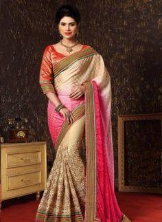 Cream & Pink wedding wear net jacquard saree in half and half