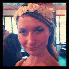 Maggie wows in Buyer's Remorse floral halo in white!