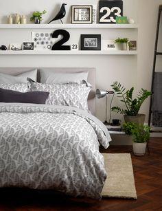 Ferns graphite grey duvet cover - 260 TC