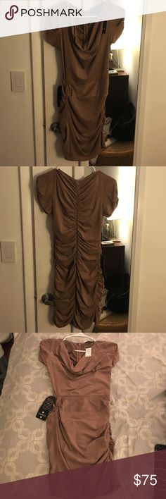 BeBe tan mini dress Fits like a glove and so soft and comfortable, gathers in the problem areas so makes a perfect fit! Never worn!! bebe Dresses Mini