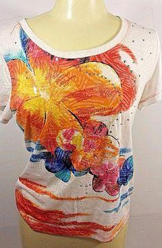 Petite Medium Top Floral Short Sleeves Women's #spartelle #Tunic #Career