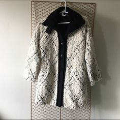 FP High Collar Pattern Coat Free people fuzzy button down winter coat! Mint condition, still has tags on it! Very comfortable & chic! Free People Jackets & Coats Pea Coats