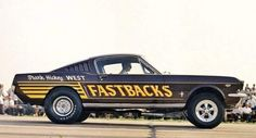 Federal bans on racing didn't hold automakers back. In the the early automakers did what they could to give their drag cars an edge, and this was the beginning of the flip-top funny car. Mustang Old, Vintage Mustang, Mustang Fastback, Mustang Cars, Shelby Mustang, Ford Mustangs, Nhra Drag Racing, Ford Maverick, Classic Mustang