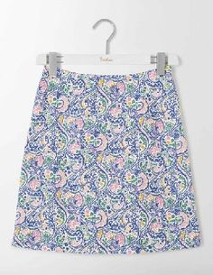 #Boden Terraza Cotton Skirt Santorini Blue Paisley #Get into the swing of things with this Sixties-style A-line skirt. The bold paisley print and above-the-knee cut shouts sophistication while the lovely textured cotton has just the right amount of stretch - great for throwing shapes on Saturday nights.