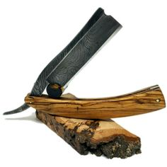 The Classic: Shave Ready Damascus Olive Wood Straight Razor Best Straight Razor, Custom Straight Razors, Straight Razor Shaving, The Art Of Shaving, Wet Shaving, Best Shave, Mens Essentials, Custom Knives, Damascus Steel