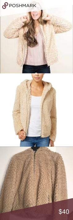 Faux fur bomber hoodie jacket In excellent condition faux fur bomber jacket/ coat great to style up for any occasion Collection B Jackets & Coats