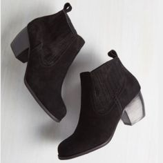 """Black Suede Ankle Booties Gorgeous real suede booties with a stacked 2.5"""" heel. Purchased from ModCloth, but the brand is Restricted. A great wardrobe staple. Brand new in box! ModCloth Shoes Ankle Boots & Booties"""