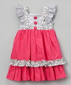 Look what I found on #zulily! Fuchsia & Gray Floral Ruffle-Sleeve Dress - Toddler & Girls by Lele Vintage #zulilyfinds