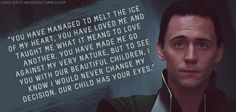 """Submission: """"You have managed to melt the ice of my heart, you have loved me and taught me what it means to love another. You have made me go against my very nature, but to see you with our beautiful children, I know I would never change my decision. Our child has your eyes."""""""