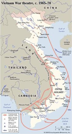 A map of North and South Vietnam during the Vietnam War shows major air bases and the communists' supply routes, including the Ho Chi Minh Trail. Vietnam Map, Vietnam History, Vietnam War Photos, North Vietnam, Vietnam Veterans, Ho Chi Minh Trail, Brown Water Navy, Military Drawings, My War