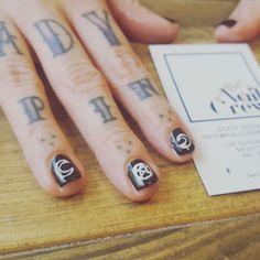 Cosmic vibes nail art. Everyday. All day.   #ladyinblack #ladyluck #blacknails #nailsoftheday #nailart #nailcrewuk #pinupgirlspiercingboutique #cosmic #nailsalon #nailswag #brightonlife