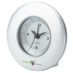 "Quartz Movement Desk Clock W/ Alarm,4 1/4"" W x 4 1/4"" H x 1 3/4"" D. http://www.tucllcpromo.us/clocksdesktop.htm"