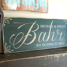 Hunter green family established sign in rustic wood finish, Hand distressed, hand painted, 18x7, Perfect Wedding Gift