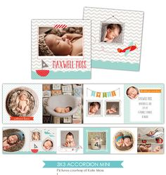 Baby Announcement 3x3 Accordion mini template Little por birdesign