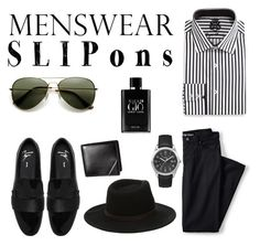 """""""Slip Ons"""" by cat5862 ❤ liked on Polyvore featuring Giuseppe Zanotti, English Laundry, Lands' End, Timex, Giorgio Armani, men's fashion, menswear and slipons"""