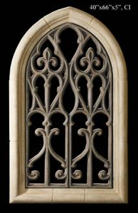 Large Gothic Window Wall Sculpture Architectural Arch Shaped With Scroll Work Grill 66 Inches Tall By 44 Wide