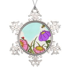 Flower Meadow Pewter Ornament