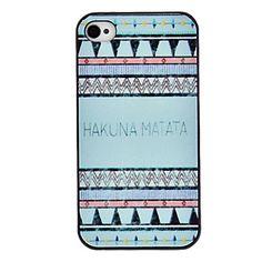Blauwe Tonen Hakuna Matata Gekleurde Tekening Pattern Black Frame PC Hard Case voor iPhone 4/4S – EUR € 2.57