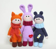 New portion of animalistic dolls   Find amigurumi pattern here >> https://amigurumi.today/dolls-wearing-animal-costumes-crochet-pattern/