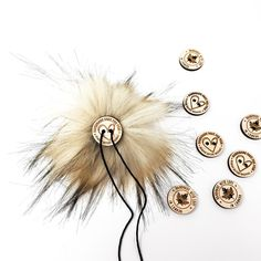 Latte Faux Fur Pom Poms – Warehouse 2020 More Code, Faux Fur Pom Pom, Grey And Beige, Pom Poms, Warehouse, Latte, Hair Accessories, Detail, How To Make