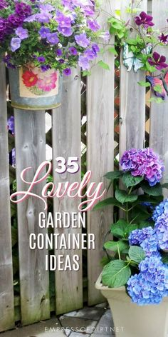 These unique container gardening ideas will give you plenty of creative garden ideas for your outdoor space. We've got flowers spilling over wheelbarrows, recycled buckets, wood planters, barrels, and boots. There are so many possibilities! #gardening #flowerpots #planters #containergardening #gardenideas #creativegardening #empressofdirt
