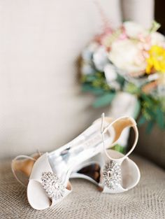 Photography : Katie DeLorme Photography | Bride's Shoes : Badgley Mischka Read More on SMP: http://www.stylemepretty.com/2016/03/18/quirky-garden-museum-wedding-complete-with-tea-length-dress/