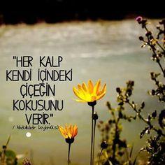 Her kalp kendi içinde ki çiçeğin kokusunu verir.