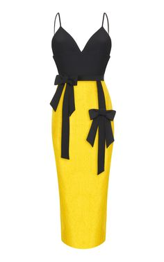 Fitted V-Neck Bow Tie Dress by RASARIO for Preorder on Moda Operandi