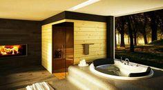 Contemporary bathroom/relaxation room