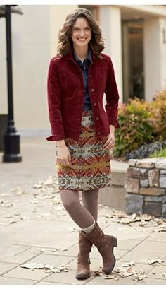 Cassidy Cord Jacket And Jacquard Skirt