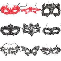 Pizzo Nero Mezza Faccia VENEZIANO Masquerade PARTY BALL Mask Fancy Dress Eye Mask