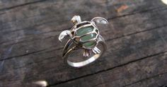 Sterling Silver Sea Turtle Ring With Aventurine by westernmountain, $32.00