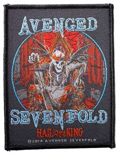 Official Avenged Sevenfold Sew-on Patch measuring approx 100mm x 75mm featuring the Hail To The King design Bravado Officially Licensed Merchandise