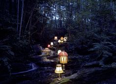 Norwegian artist Rune Guneriussen's installations are straight out of a magical fairytale. Can you imagine stumbling upon a trail of glowing lamps in the middle of the night? Don't pinch me because I don't ever want to wake up from this dream . . .