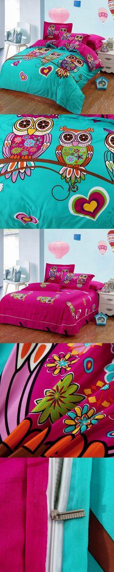 100%Cotton Kids Boys 3d Owl Bedding set Twin /Queen/King Size Bed Linen/Bed Sheet Duvet Cover For Christmas 6/4/3 Pcs