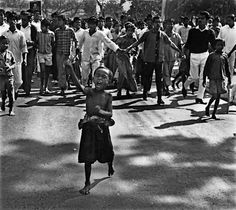 A child leads a street protest in Bangladesh in 1969. Then called East Pakistan, Bangladesh became independent from West Pakistan after a war involving India in 1971.