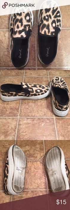 Cheetah sneakers Size 6. Cupid cheetah slip ons. Worn twice Shoes Sneakers
