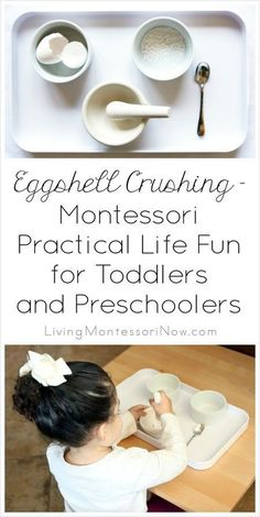 Montessori eggshell crushing ideas and resources to use with toddlers and preschoolers; a fun practical life activity for home or classroom