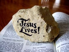 "Easter paperweight or home decor with ""Jesus Lives"" and ""The Lord is my Rock"" reversible hand lettering, made from Kansas limestone. https://www.etsy.com/listing/68509126/easter-paperweight-or-home-decor-with?"