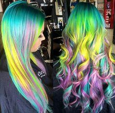 rainbow neon purple dyed hair color @kristenxleanne