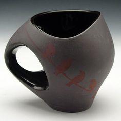 Black Bird on a Wirre Mug 10 ounces by GilliattCeramics on Etsy