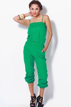 #clubwear21.com #dress #fashion green smocked linen summer jumpsuit-$32.00