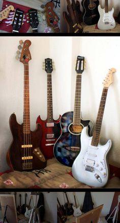 Baixo Stratosonic, Guitarra SG, Violão e Guitarra Stratosonic (acervo pessoal *__*)
