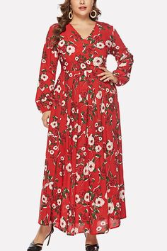 aeeca13a32 Women Red Floral Print V Neck Long Sleeve Casual Maxi Plus Size Dress - XXL